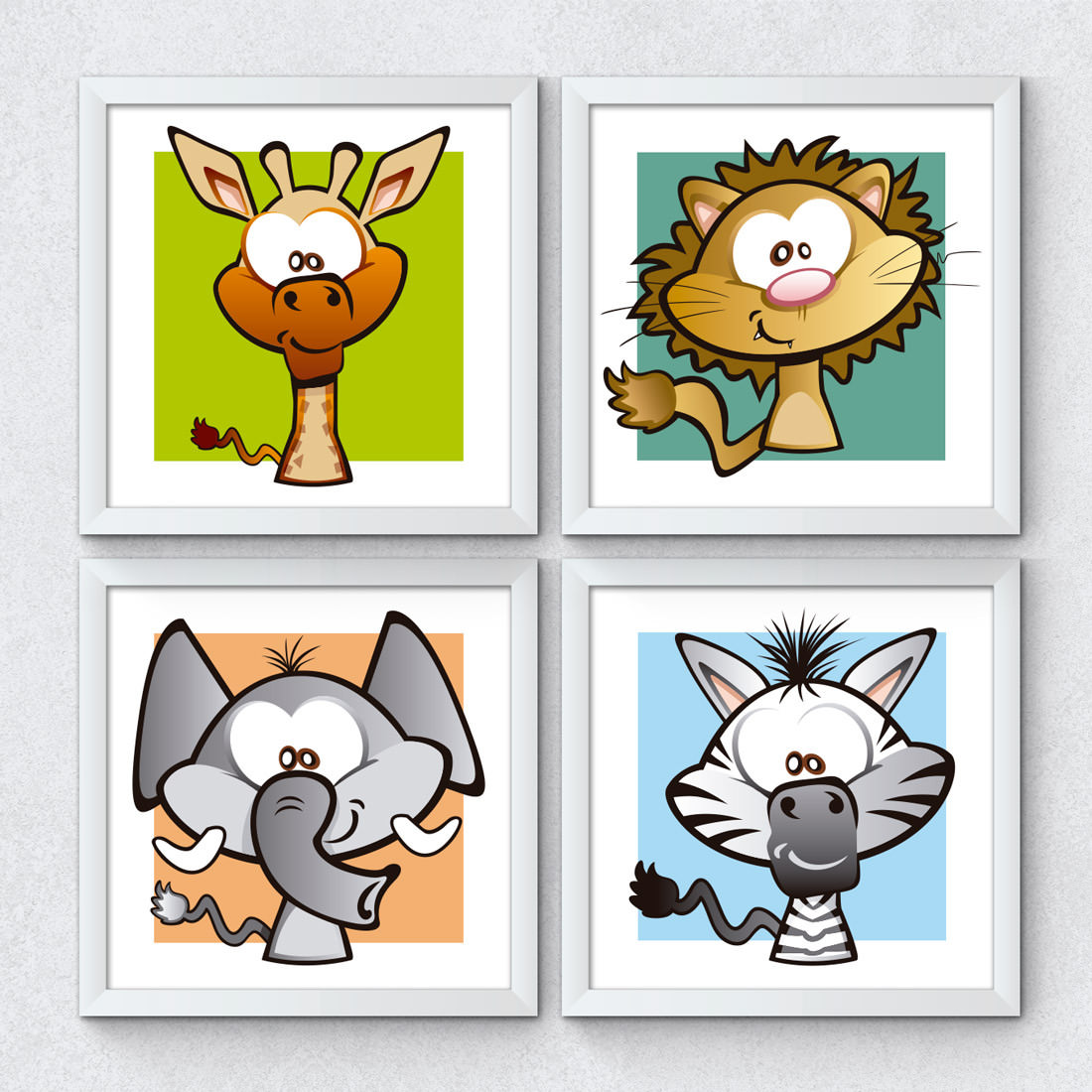 Conjunto de Quadrinhos Decorativos Animais Safari