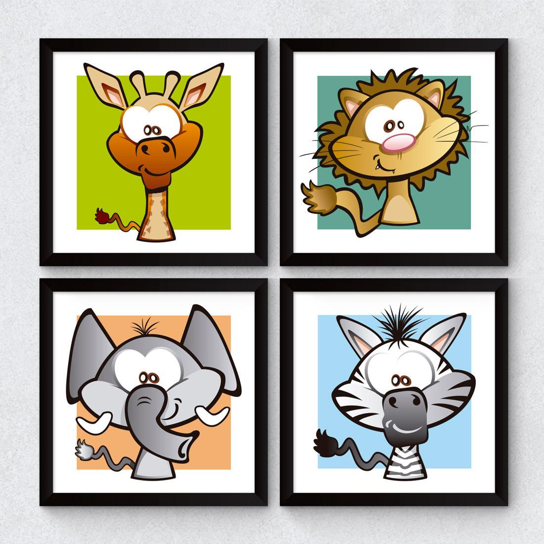 Conjunto de Quadrinhos Decorativos Infantil Animais