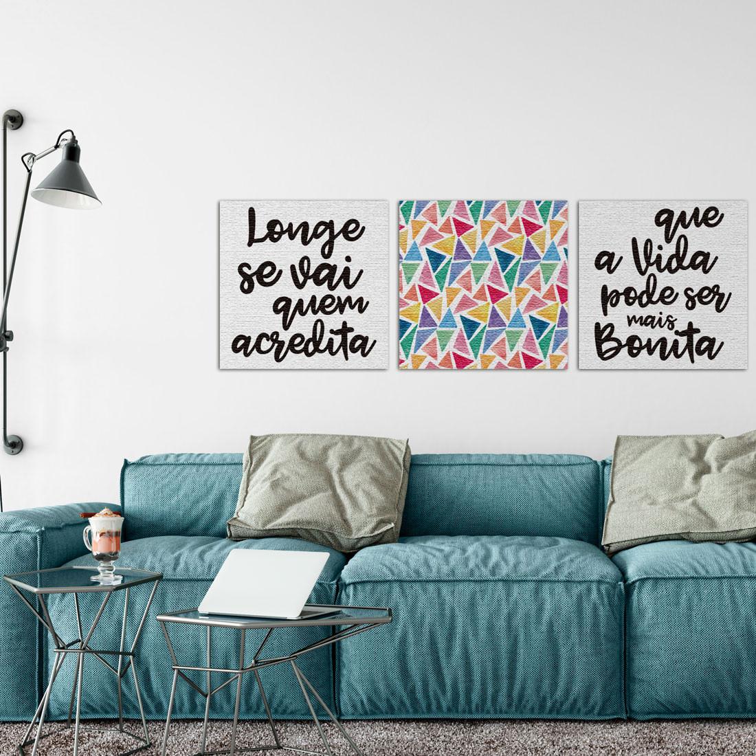 """Conjunto de Quadros Decorativos """"Longe se Vai"""" ambiente"""