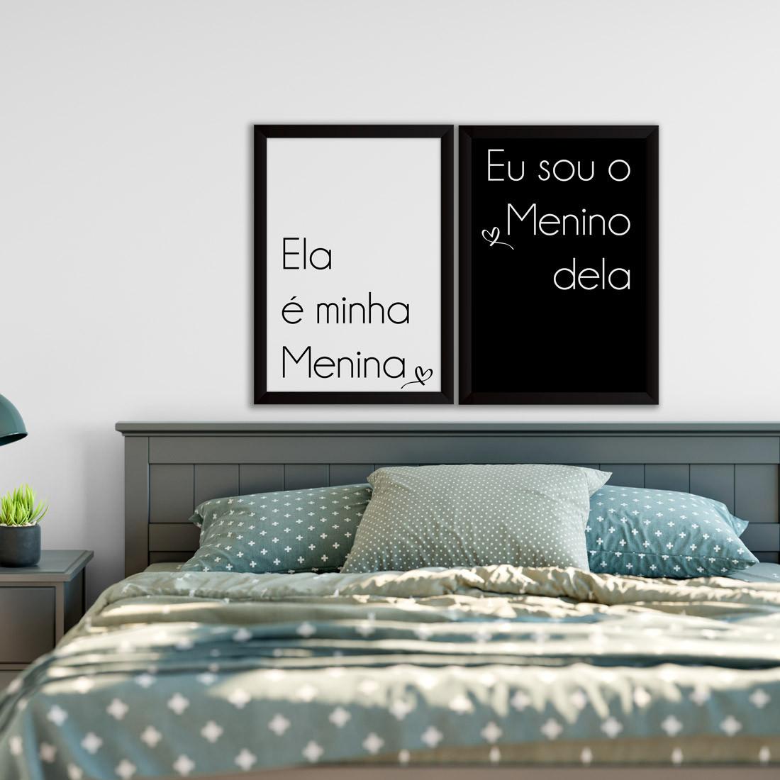 Conjunto de Quadros Decorativos Menina Dele Menino Dela