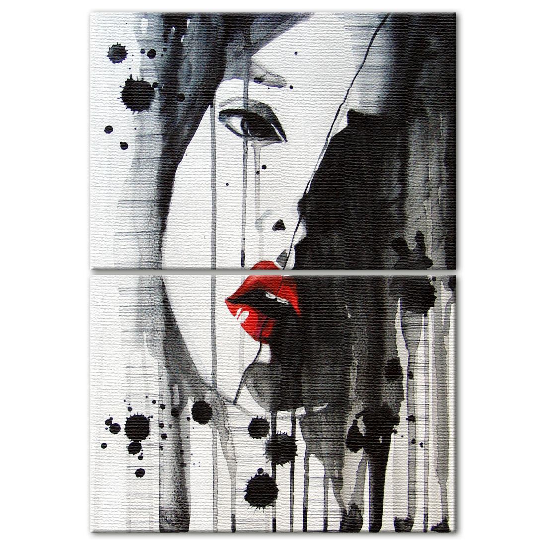 Conjunto de Quadros Decorativos Batom Vermelho