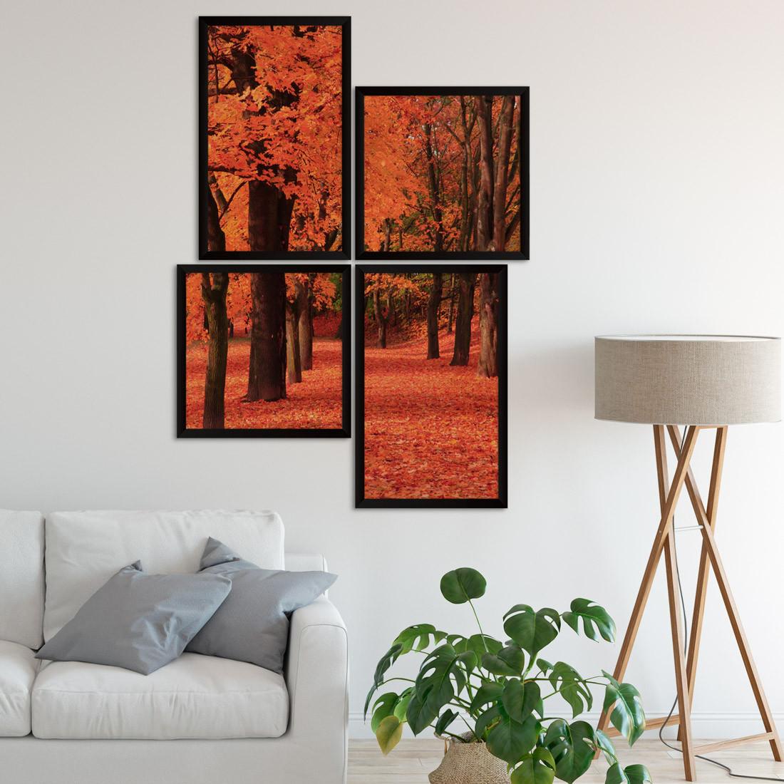 Conjuntos de Quadros Decorativos Assimétrico Árvore Laranja
