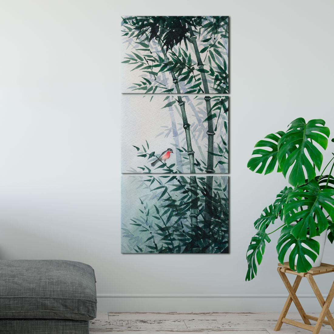 Quadro Decorativo moita de Bambus e Pássaro