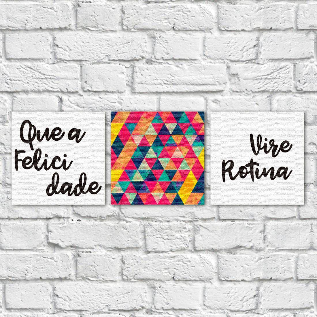 conjunto de quadros decorativos que a felicidade vire rotina