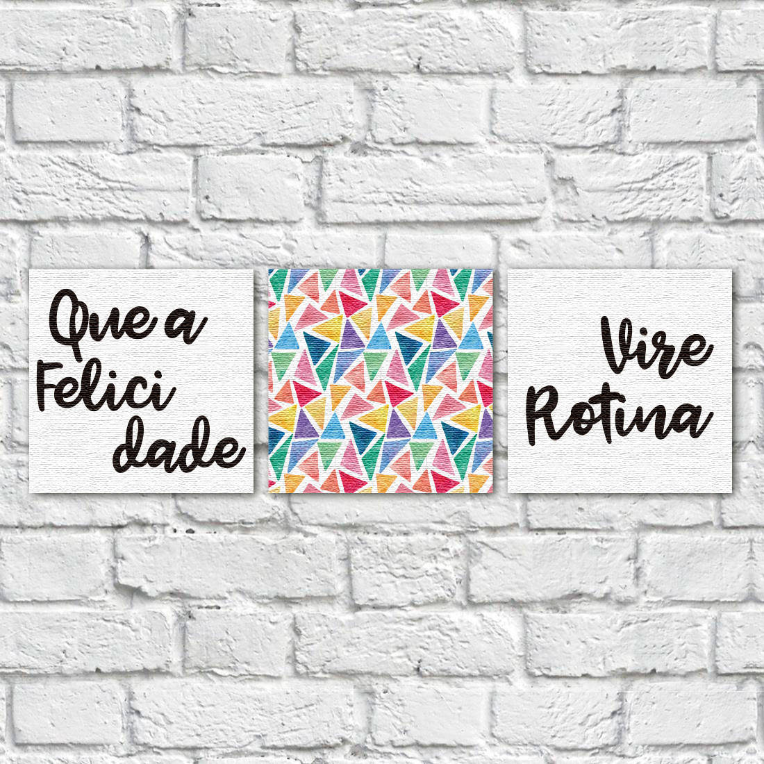 conjunto de quadros decorativos em canvas que a felicidade vire rotina