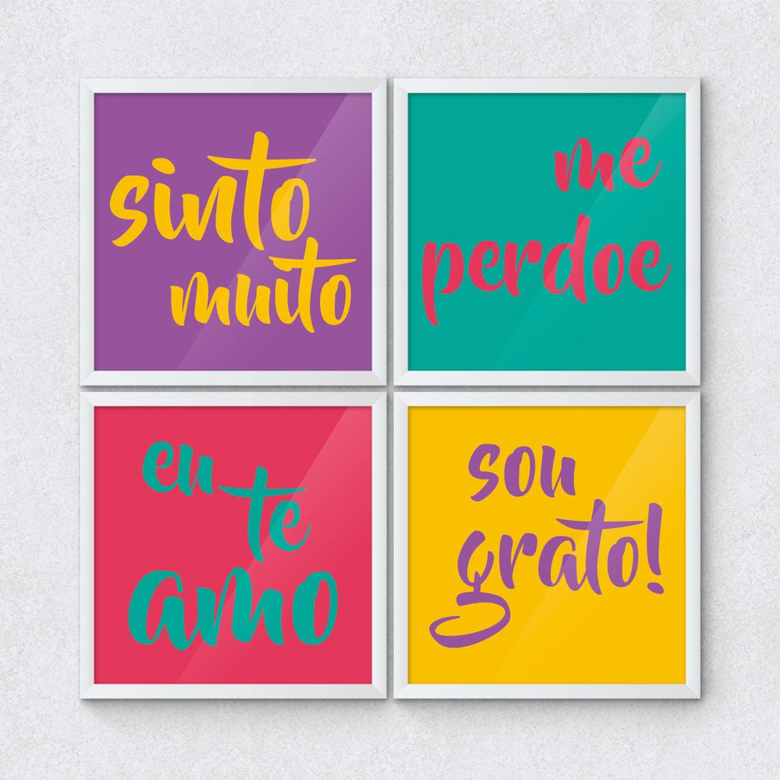 Conjunto de Quadros Decorativos Eu te Amo Sou Grato