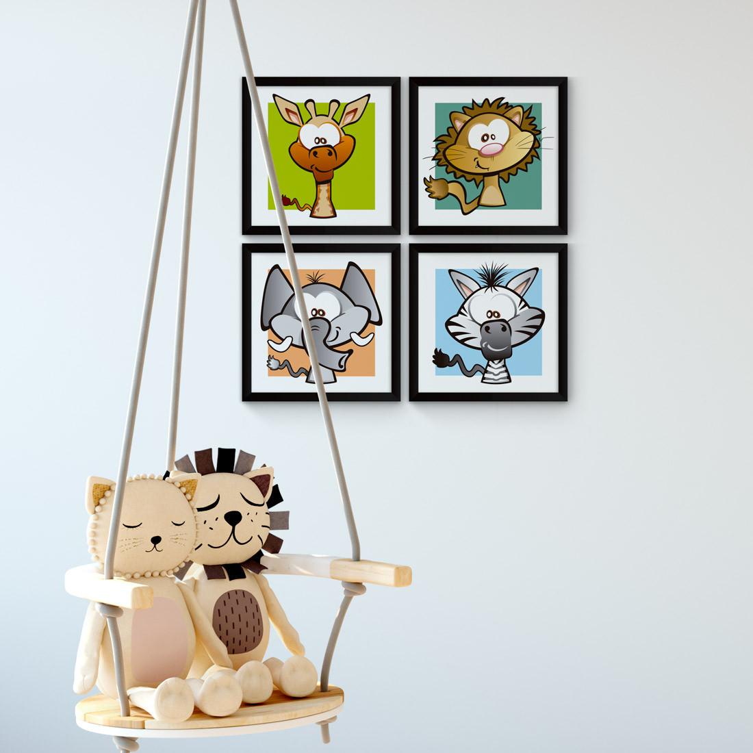 Conjunto de Quadrinhos Decorativos Infantil Animais Safari Zebra Elefante