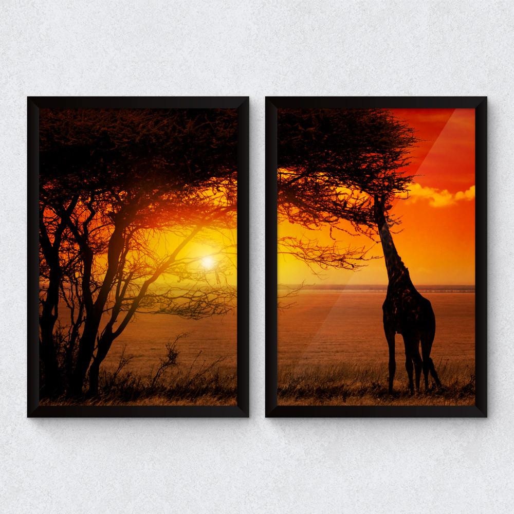 Conjunto de quadros decorativos por do sol savana for Conjunto de espejos decorativos