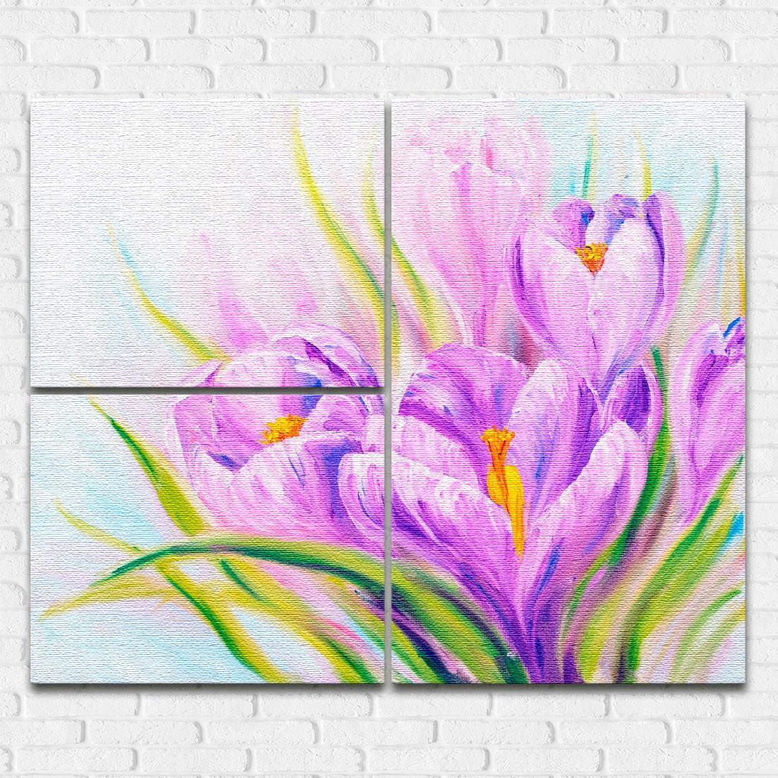 Quadros Decorativos Assimétrico Flor de Açafrão