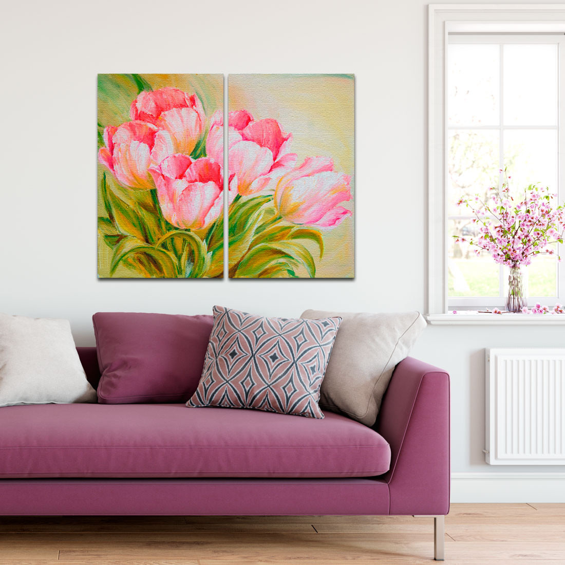 Conjunto de Quadros Decorativos Tulipas Rosa