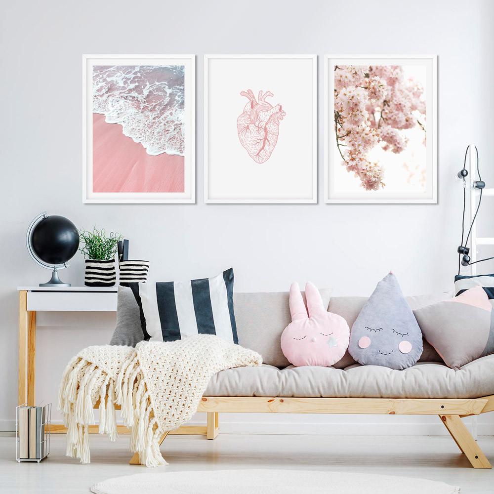 Conjunto de Quadros Decorativos Areia Rosa - Coração - Flor de Cerejeira