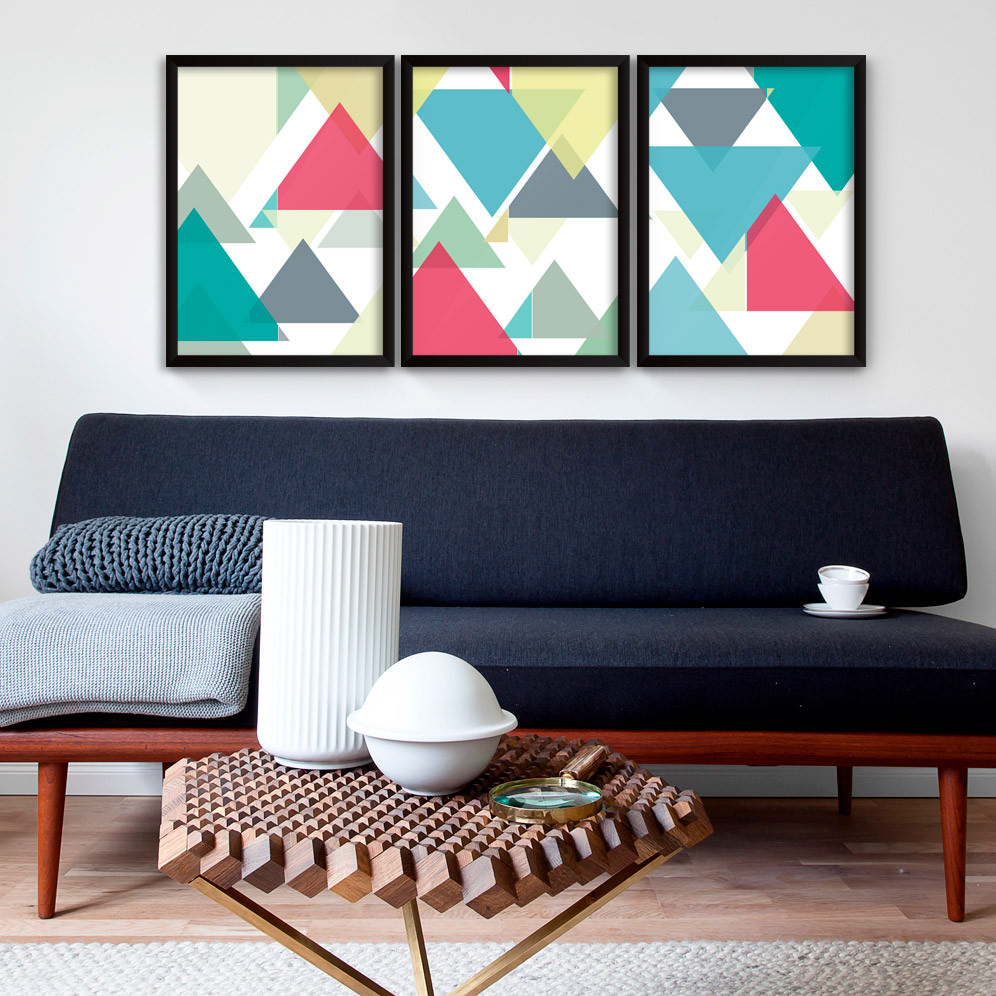 Conjunto de quadros decorativos tri ngulos coloridos for Conjunto de espejos decorativos