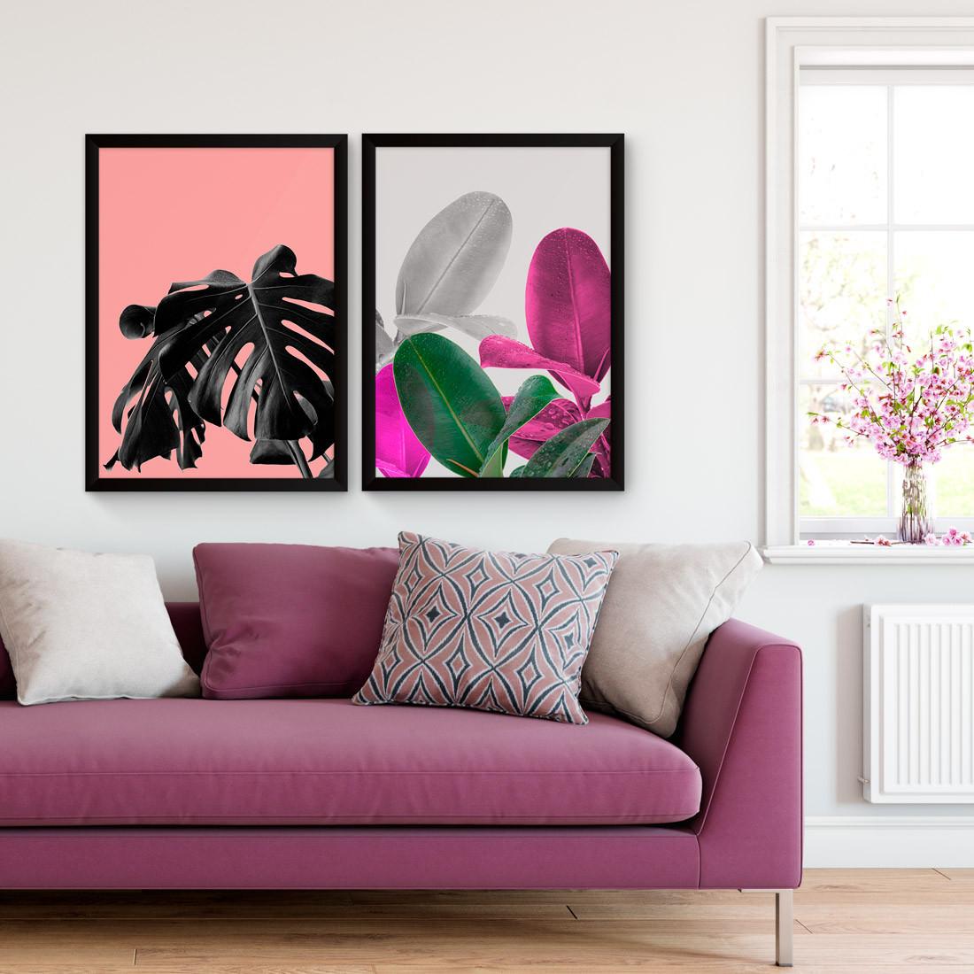 Conjunto de Quadros Decorativos Monstera e Ficus