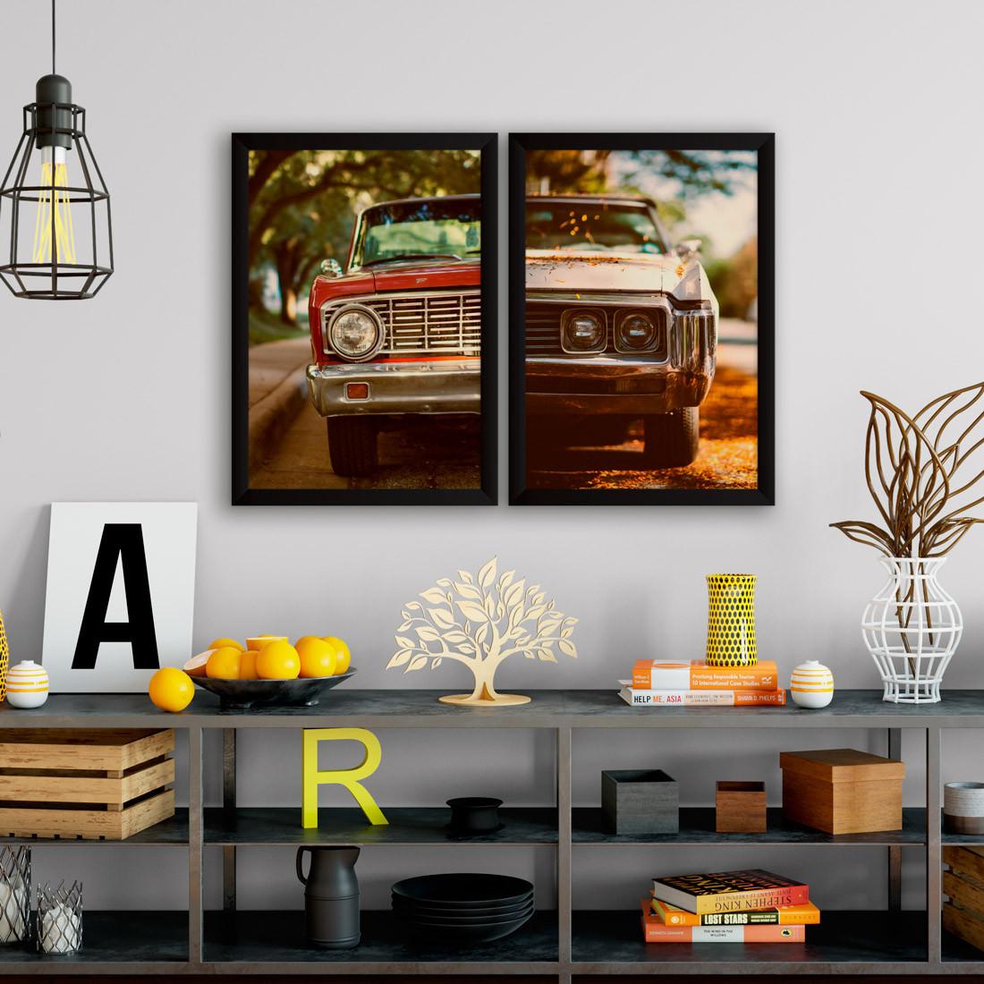 Conjunto de Quadros Decorativos Vintage Frente Carros Antigos