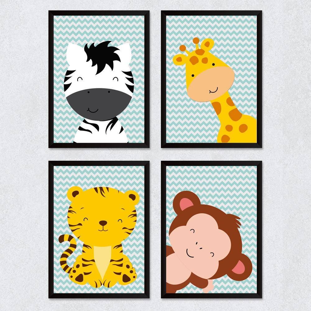 Conjuntos de Quadris Infantis Safari Bichinhos