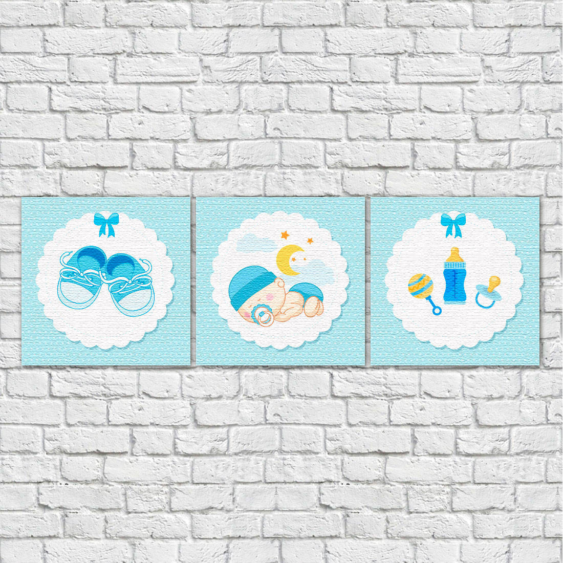 Conjunto de Quadros Decorativos Infantil Bebê Dorminhoco