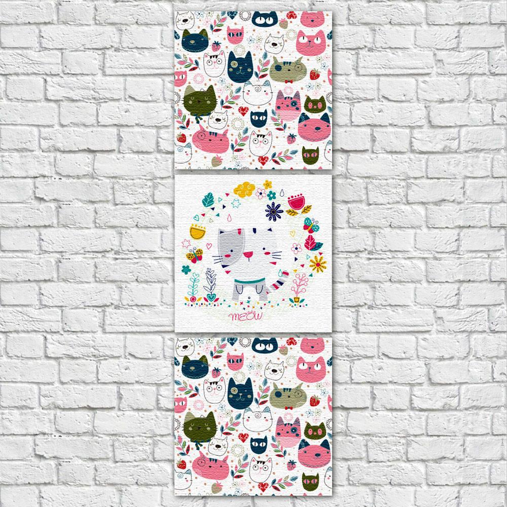 Conjunto de Quadros Decorativos Infantil Gatos Vertical