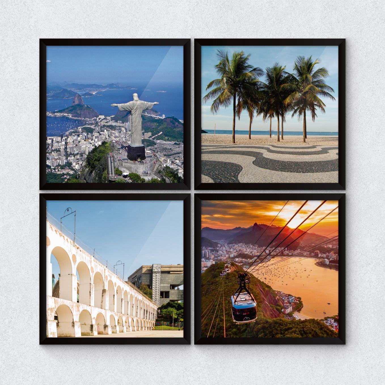 Quadros Decorativos Copacabana Cristo Redentor Pão de Açúcar Arcos da Lapa Bondinho