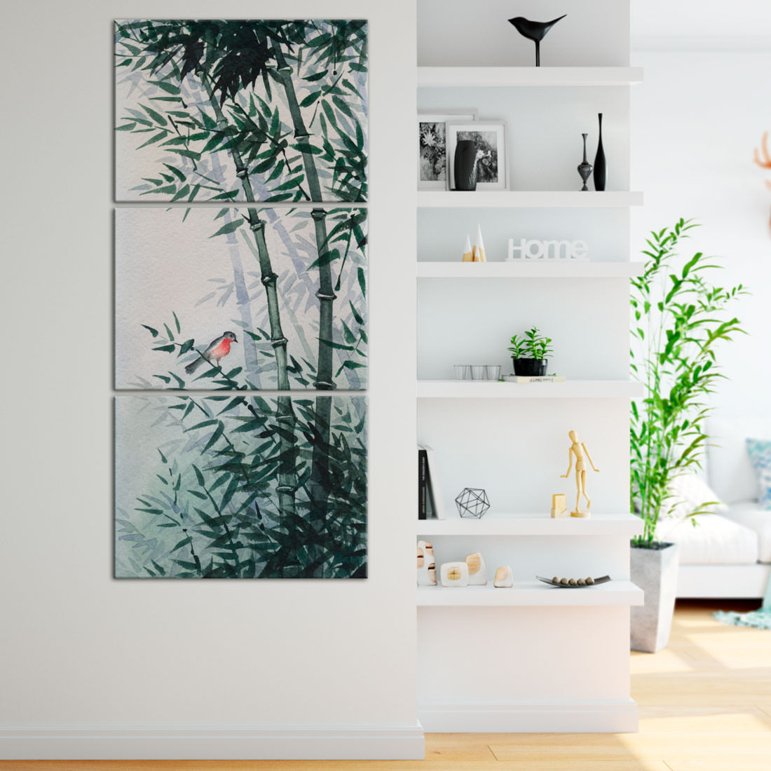 Quadro Decorativo Bambus e Pássaro