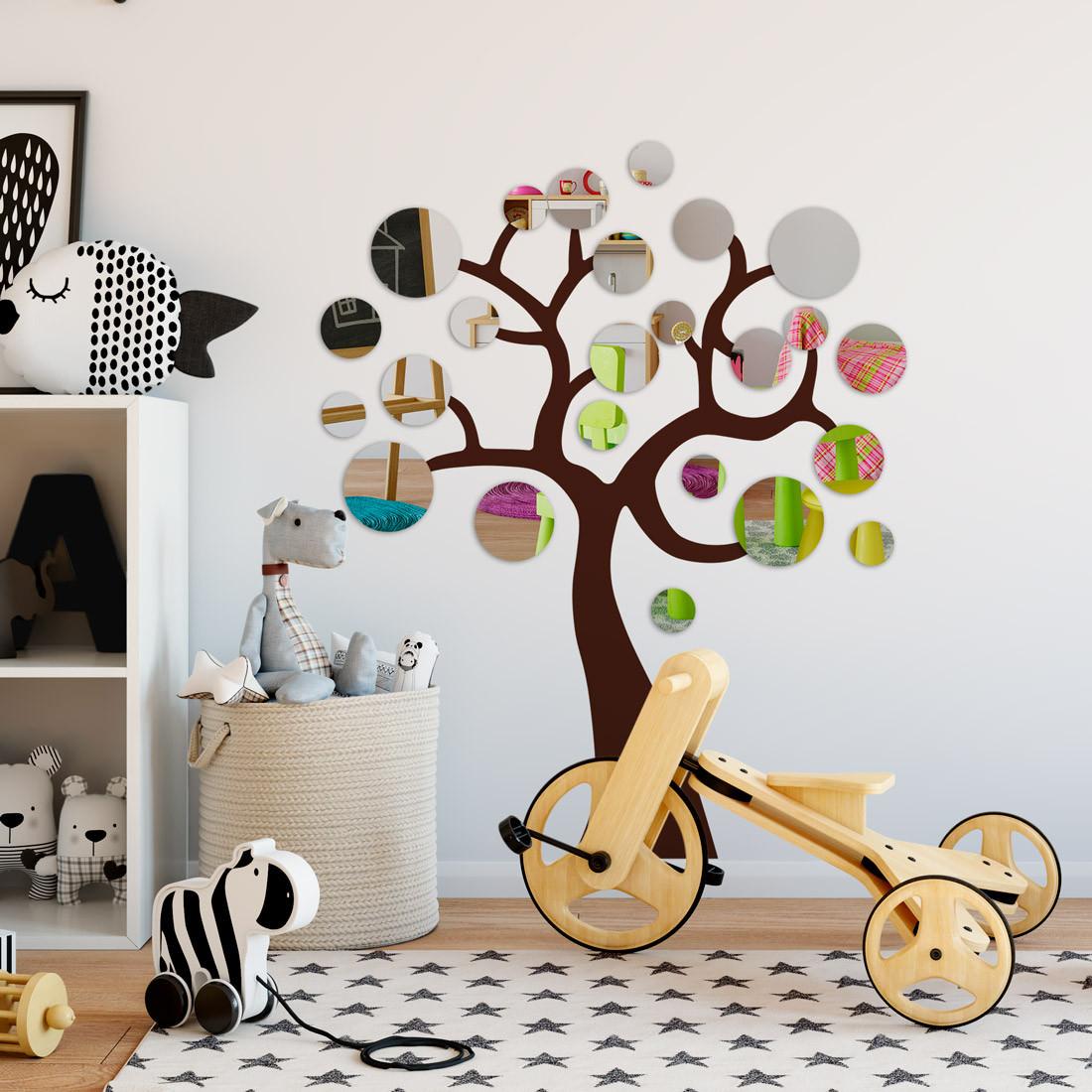 Adesivo de Parede Infantil Árvore de Bolas Espelhadas