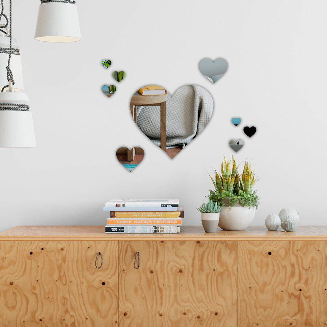 Espelho Decorativo Kit com 9 Corações