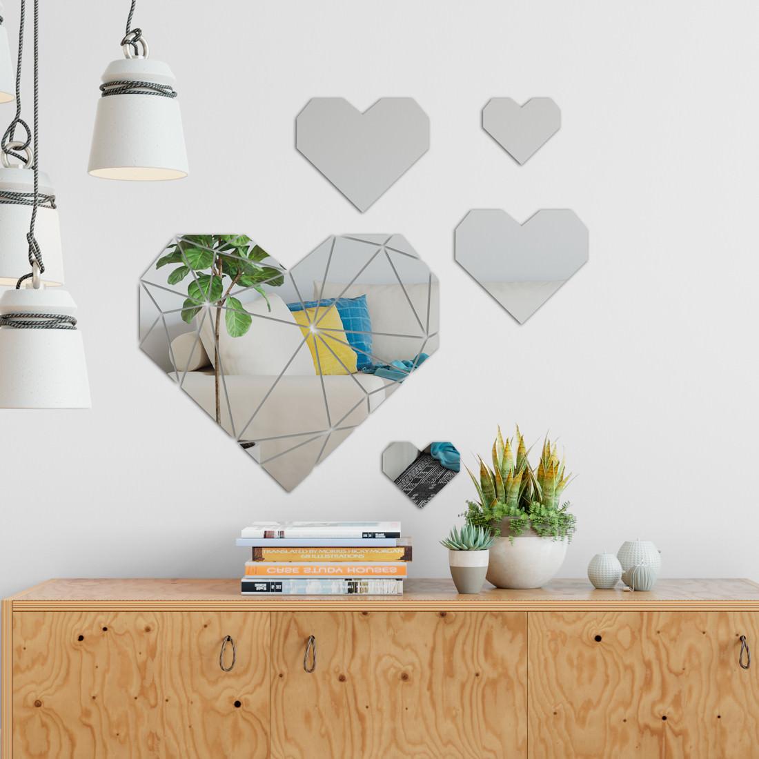 Espelho Decorativo Corações Geometricos