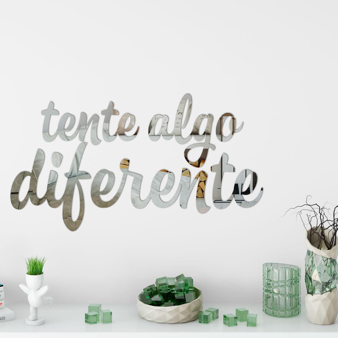 """Espelho Decorativo Frase """"Tente Algo Diferente"""""""