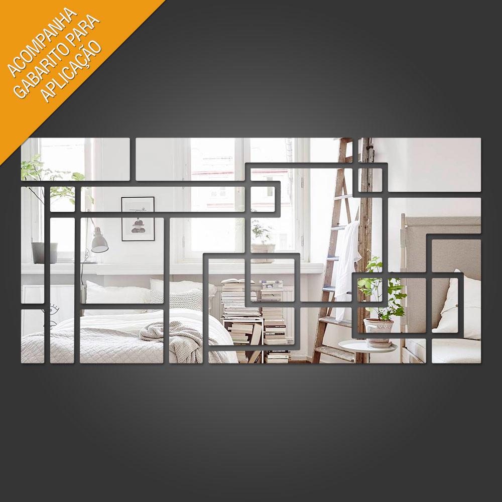 Espelho Decorativo Retângulo Labirinto Geométrico