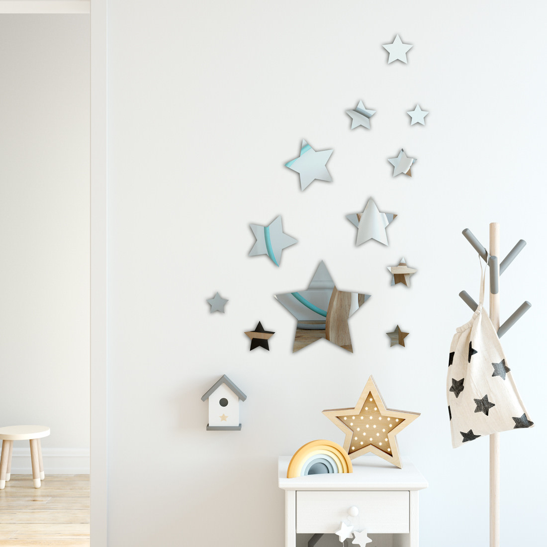 Espelho Decorativo Estrelas. Kit com 20 Estrelas. Confeccionado em Acrílico Espelhado