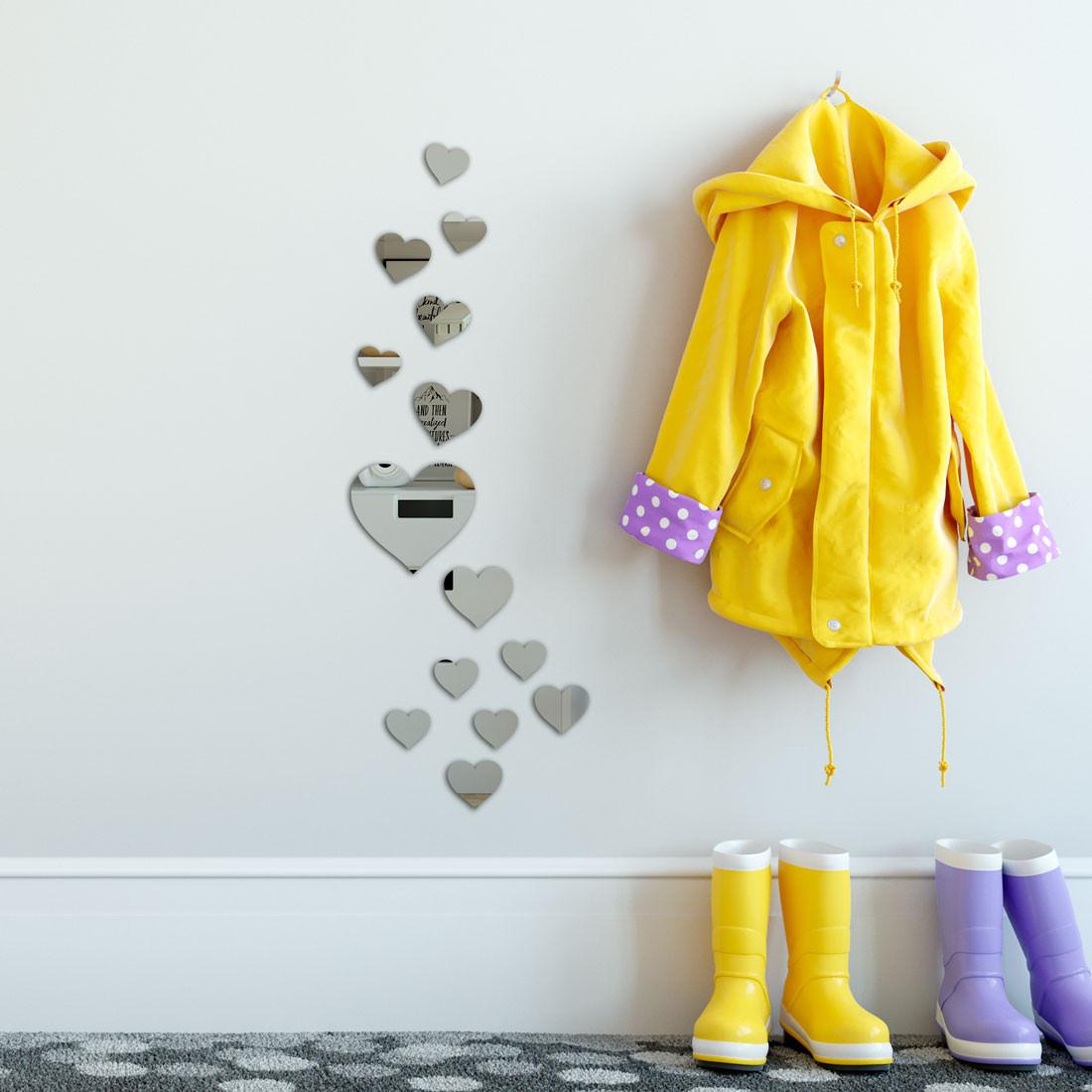 Espelho Decorativo Mini Corações - 14 Peças