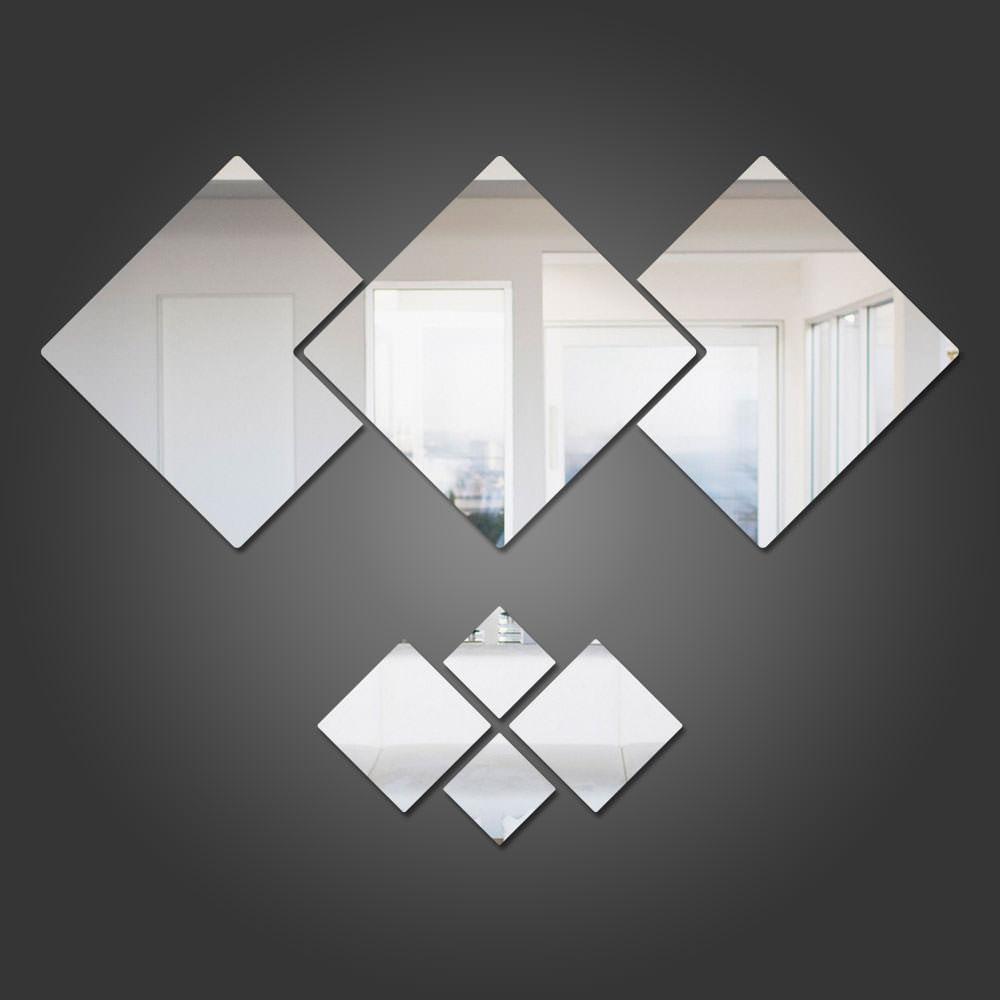 Espelho Decorativo em Acrílico Quadrados Personalizáveis Sugestão de Montagem 1