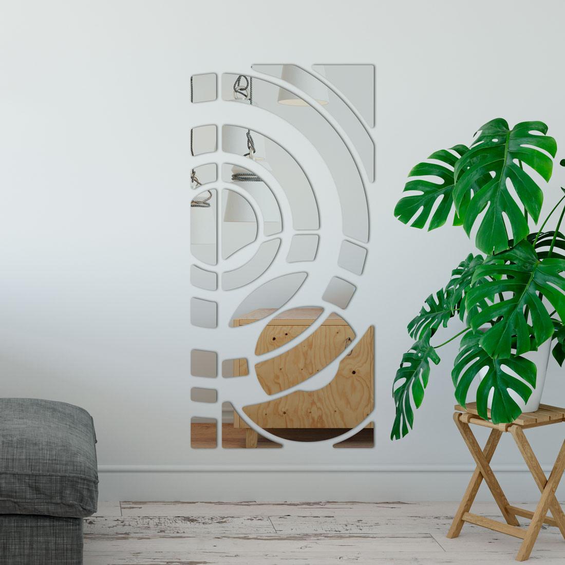 Espelho Decorativo Retângulo Círculos Abstrato