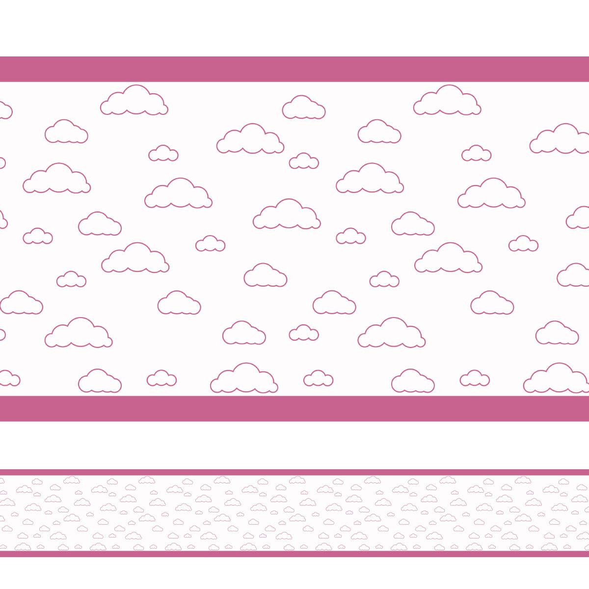 Faixa Decorativa Nuvens Simples Rosa