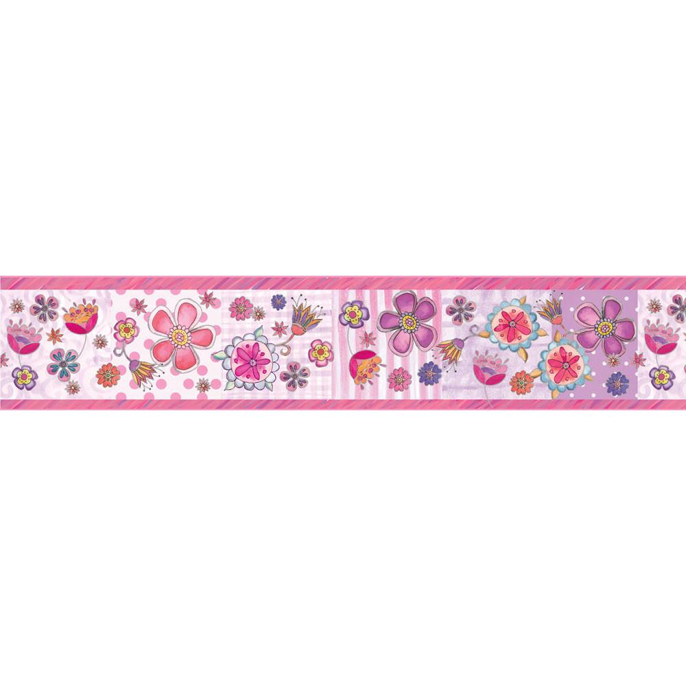 Faixa Decorativa Infantil Floral Fundo Rosa - Has#Tag