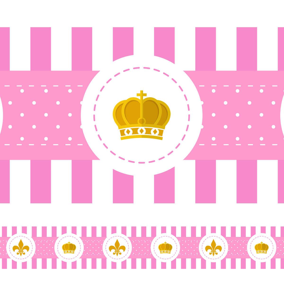 Faixa Decorativa Coroa e Flor de Lis Coroa - Rosa