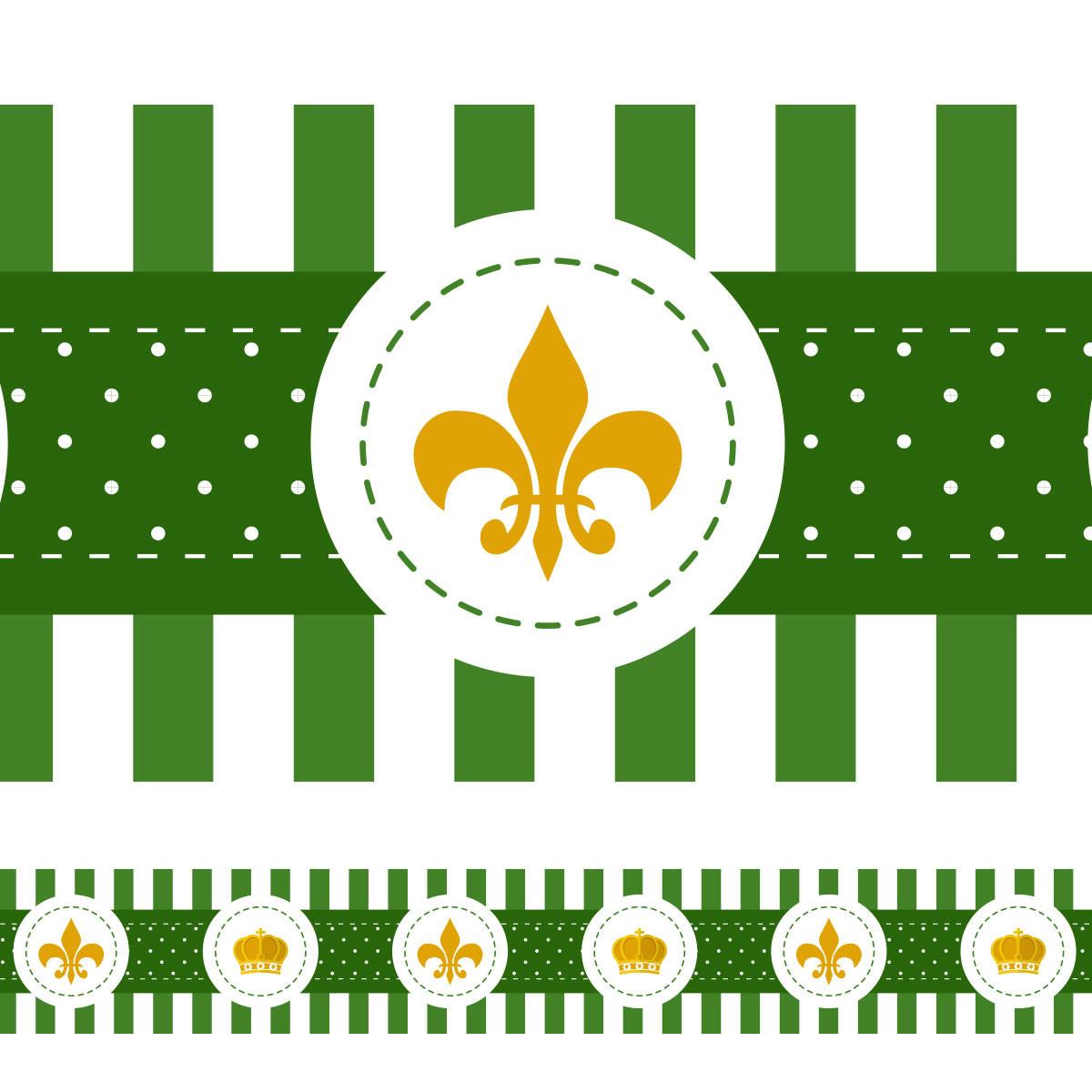Faixa Decorativa Coroa e Flor de Lis - (Verde)