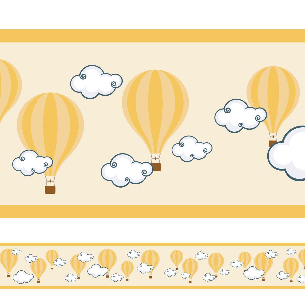 Faixa Decorativa Balões Nuvens - Amarelo