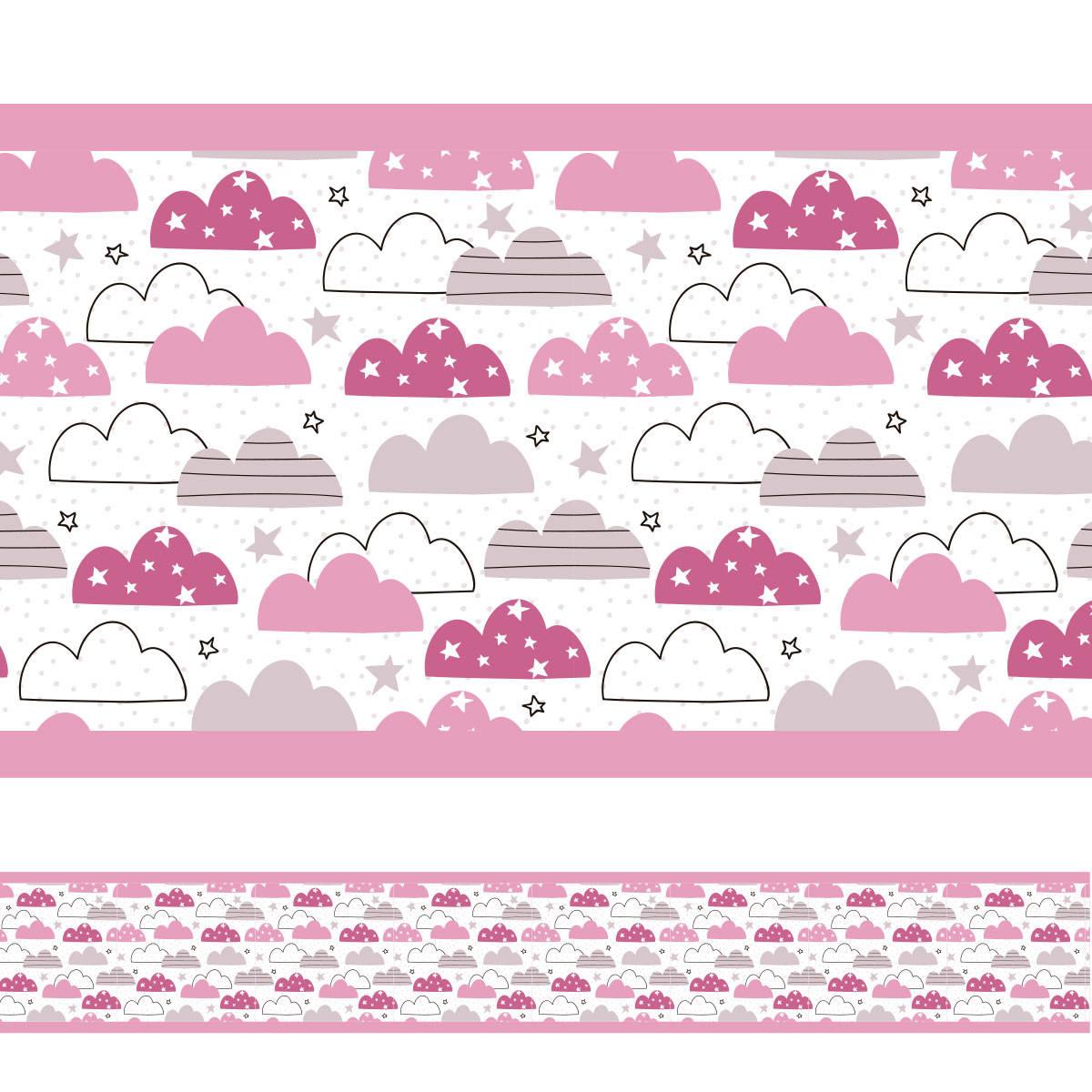 Faixa Decorativa Nuvens Divertida Rosa
