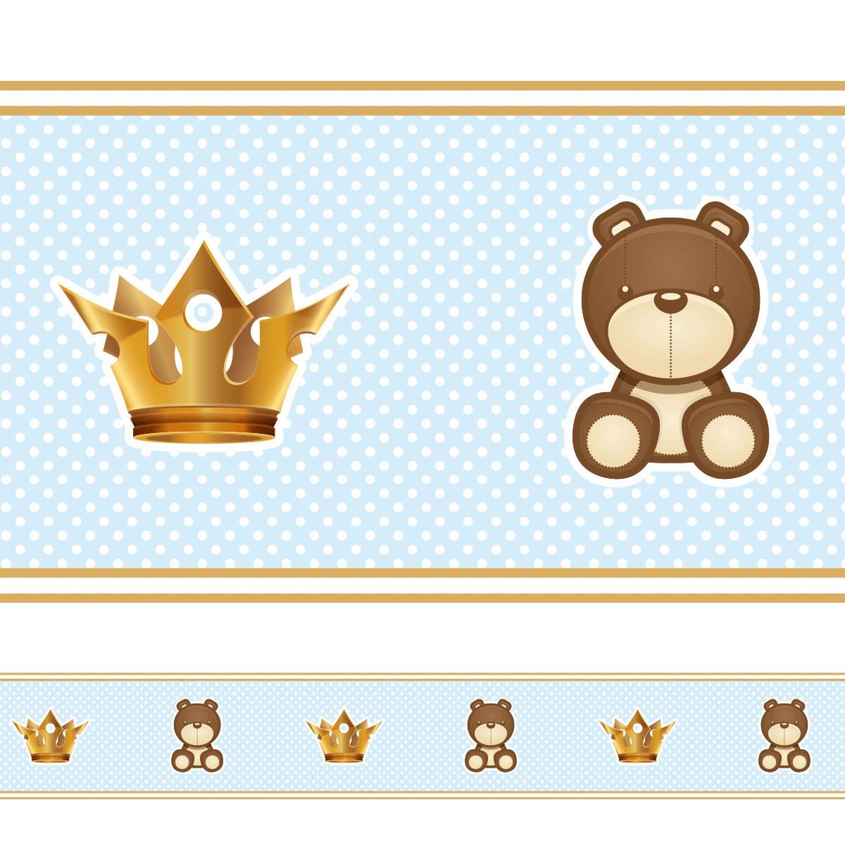 Faixa Decorativa Ursinho e Coroa - Azul
