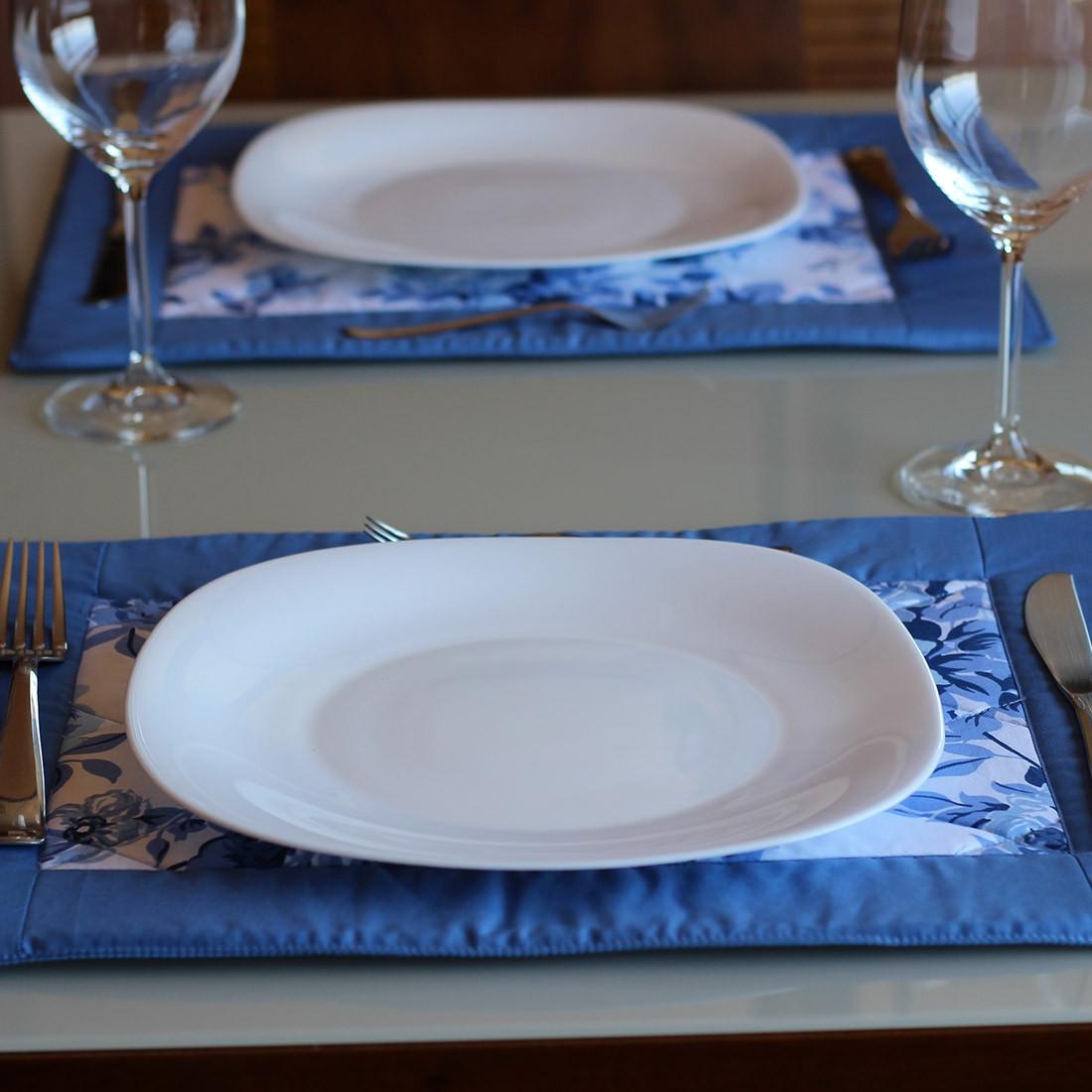 Jogo Americano Patchwork Azul e Floral