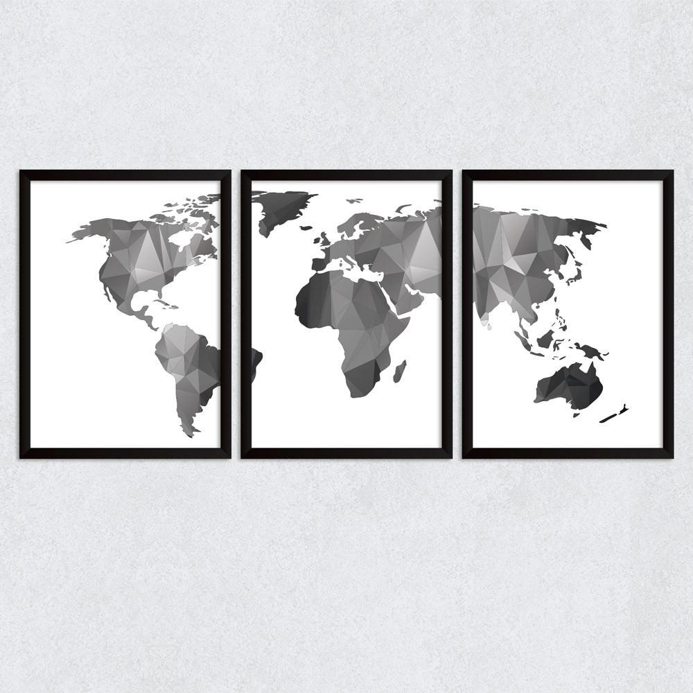 Conjunto de Quadros Decorativos Mapa Mundi