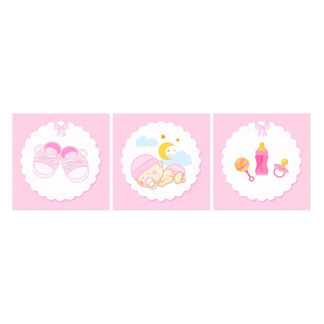Conjunto de Quadros Decorativos Infantil Bebê Dorminhoco Rosa Painel