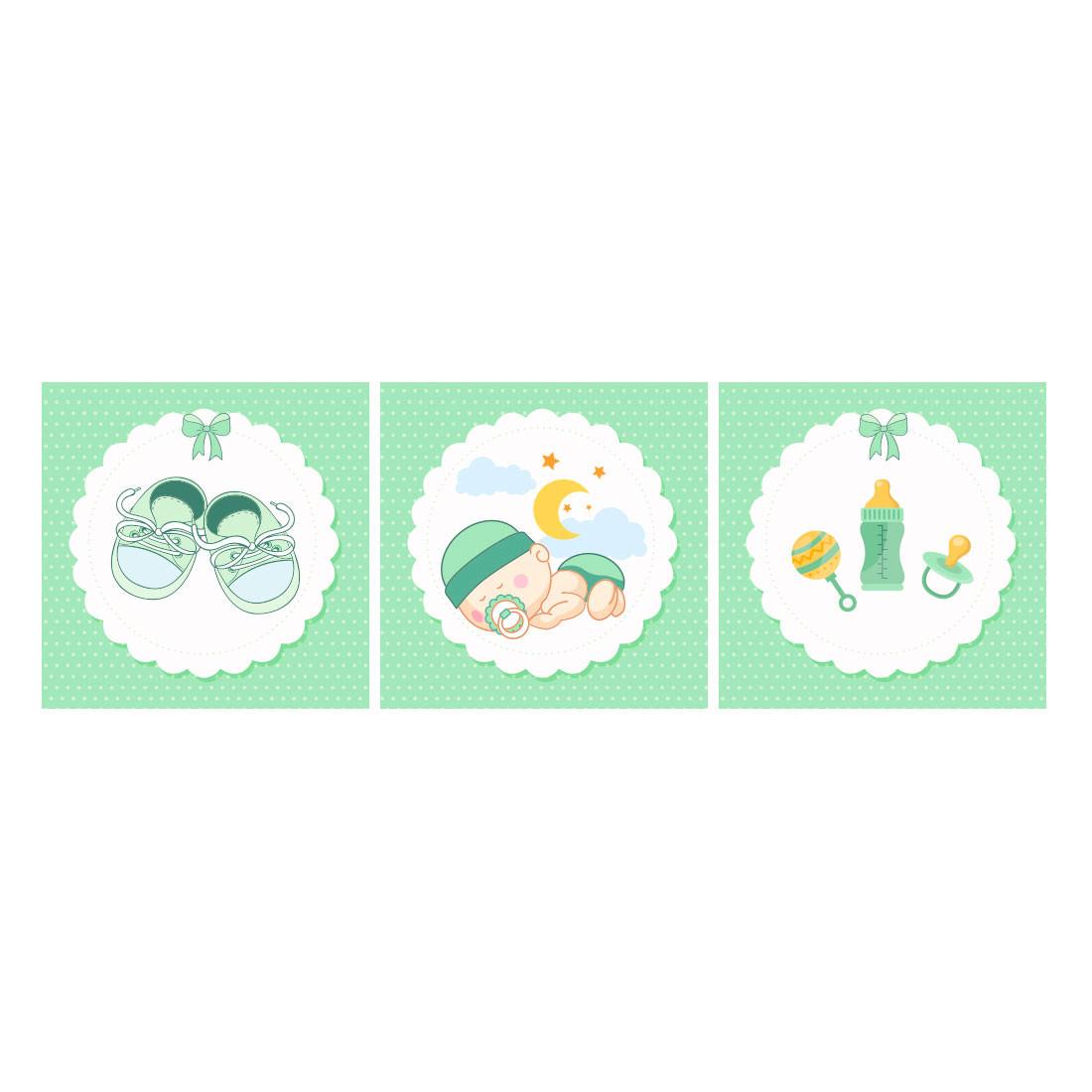 Conjunto de Quadros Decorativos Infantil Bebê Dorminhoco painel verde