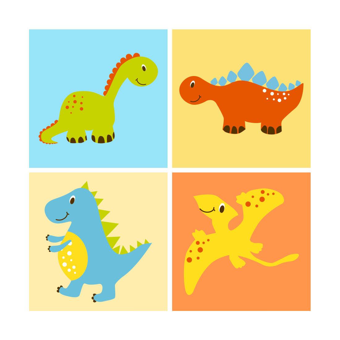 Painel Conjunto de Quadros Decorativos Infantil Dinossauros