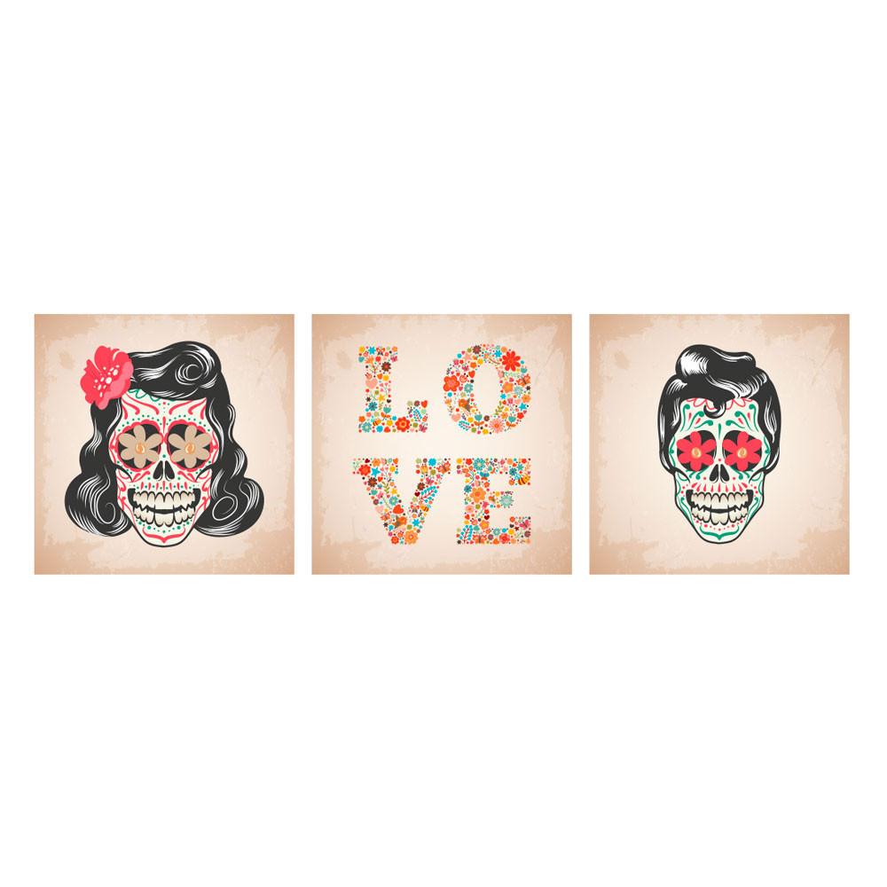 Poster Decorativos Casal Caveira Mexicana
