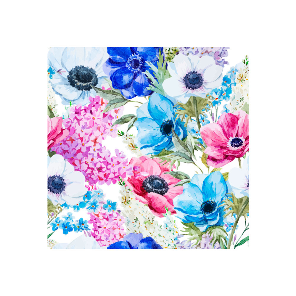Poster Decorativo Estampa Floral Azul