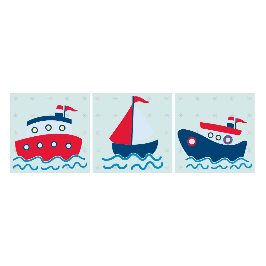 Conjunto de Quadros Decorativos Infantil Barcos Marinheiros Painel