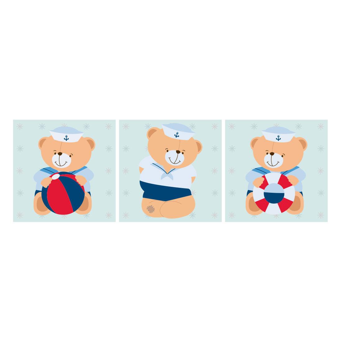 Conjunto de Quadros Decorativos Infantil Ursinhos Marinheiro Painel