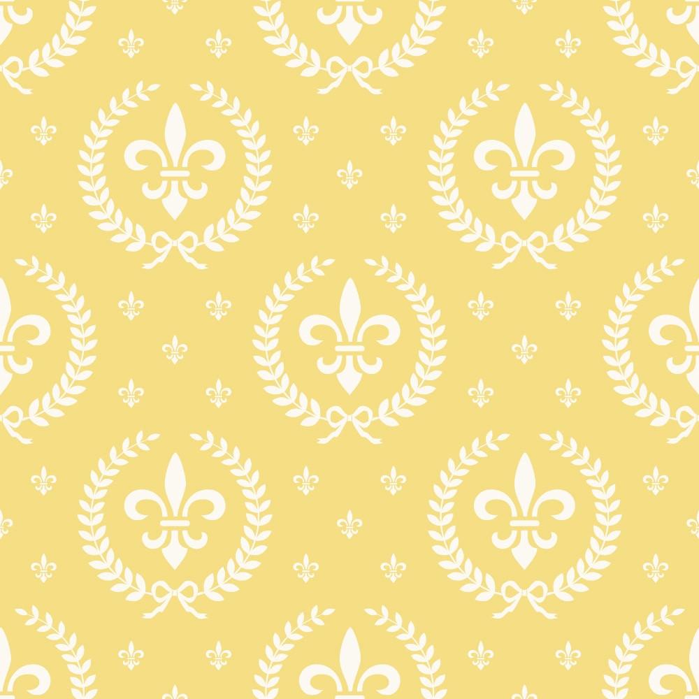 Papel de Parede Infantil Flor de Lis (Amarelo)