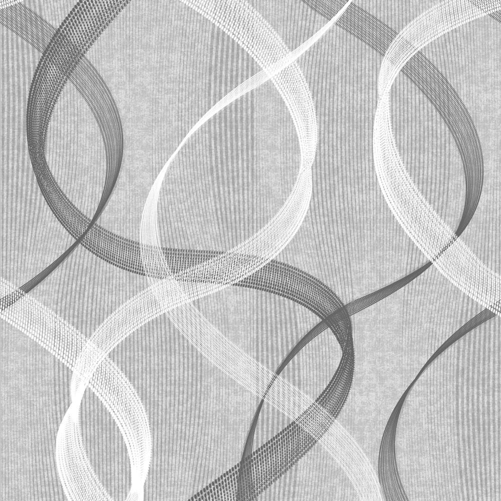 Papel de Parede Abstrato Ondulado (Cinza)